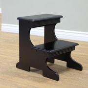 Mega Home 2-Step Wood Step Stool w/ 200 lb. Load Capacity; Black