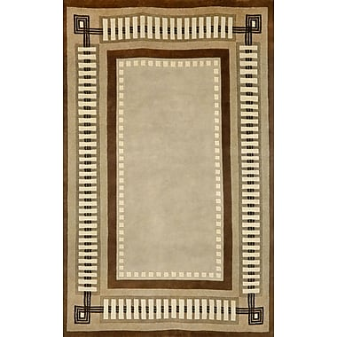 Liora Manne Palermo Modern Border Hand Knotted Wool Brown Area Rug; Rectangle 5' x 8'