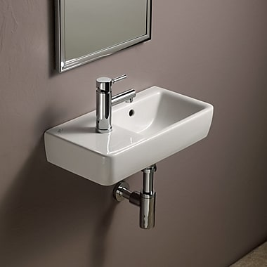 Bissonnet Elements Comprimo 20'' Wall Mounted Bathroom Sink w/ Overflow