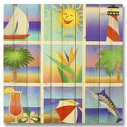 Gizaun Art 5 Piece Wile E. Wood Summer Beach Squares Graphic Art Set