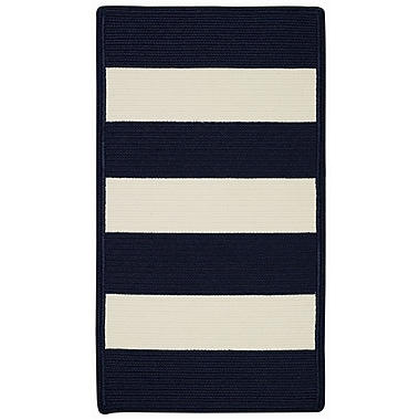 Capel Willoughby Indigo/White Striped Outdoor Rug; Cross Sewn 4' x 6'