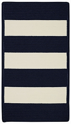 Capel Willoughby Indigo/White Striped Outdoor Rug; Cross Sewn Runner 2'3'' x 9'