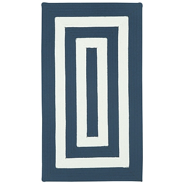 Capel Willoughby Indigo/White Striped Outdoor Rug; Concentric 4' x 6'