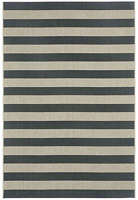Capel Elsinore Cinders Black/Grey Striped Outdoor Area Rug; 5'3'' x 7'6''