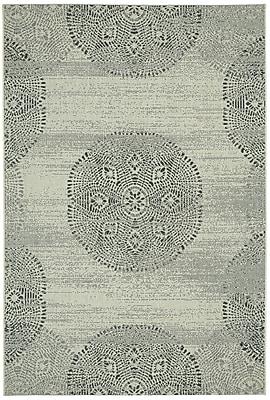 Capel Elsinore Cinders Green Mandala Outdoor Area Rug; 3'11'' x 5'6''