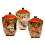 Certified International Rustic Rooster 3-Piece Storage Jar Set