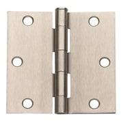 Global Door Controls 3.5'' H   3.5'' W Butt/Ball Bearing Pair Door Hinges (Set of 2); Satin Nickel