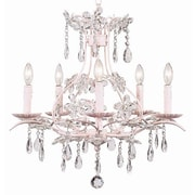Jubilee Collection Cinderella 5-Light Crystal Chandelier; Pink