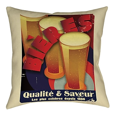 Manual Woodworkers & Weavers Bieres Qualite and Saveur Indoor/Outdoor Throw Pillow