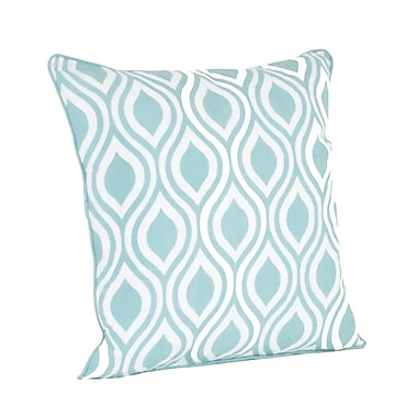 Saro Teardrop Design Printed Throw Pillow; Duck Egg Blue