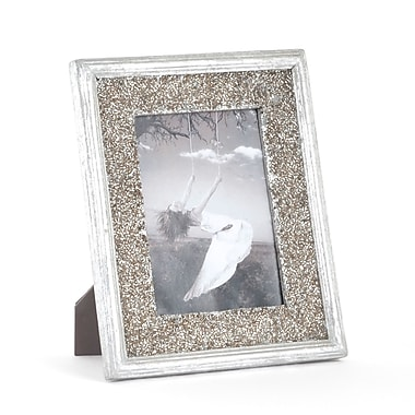 Saro Bejeweled Seed Bead Design Picture Frame; Silver