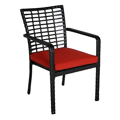 Meadow Decor Melrose Stacking Patio Dining Chair w/ Cushion; B Grade WYF078277627341