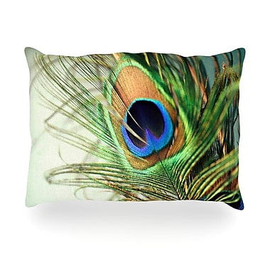 KESS InHouse Peacock Feather Outdoor Throw Pillow; 14'' H x 20'' W x 3'' D