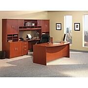 Bush Business Furniture Westfield 72W x 36D Bow Front Desk, Mahogany,  (WC36746)