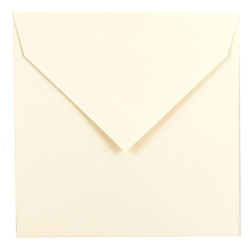 JAM Paper® 7.5 x 7.5 Square Invitation Envelopes with Euro Flap, Natural White, 50/Pack (27912565I)