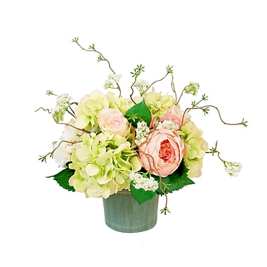Creative Displays, Inc. Mixed Hydrangea and Roses Centerpiece in Planter