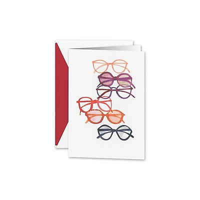 William Arthur Glasses Galore Notecards, White, 3.75 x 5.12 inch, 10/Box