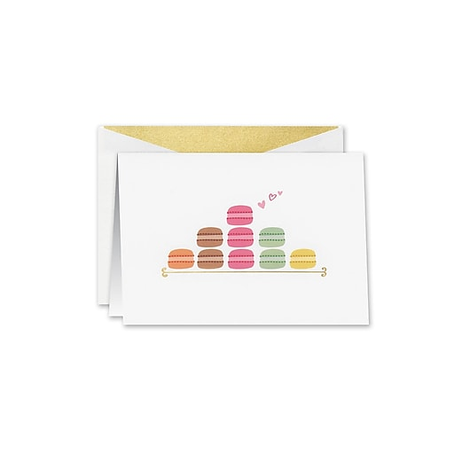 William Arthur Macarons Notecards, White, 3.75 x 5.12 inch, 10/Box