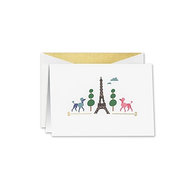 William Arthur Paws in Paris Notecards, White, 3.75 x 5.12 inch, 10/Box