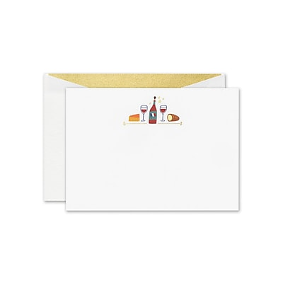 William Arthur Wine & Cheese Correspondence Cards, White, 4.5 x 6.37 inch, 10/Box