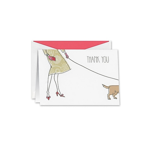 William Arthur Pup on the Go Thank You Notes, White, 3.75 x 5.12 inch, 10/Box