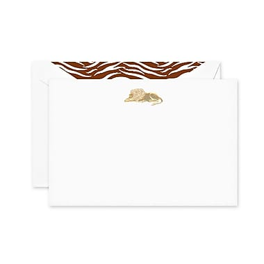 Crane & Co. Engraved Lion Correspondence Cards, Pearl White, 4.25 x 6.25 inch, 10/Box
