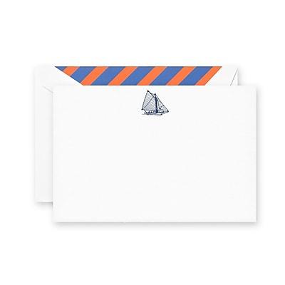 Crane & Co. Engraved Sailboat Correspondence Cards, 4.25 x 6.37 inch, 10/Box