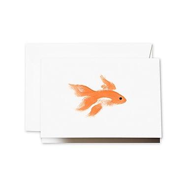 Crane & Co. Brushstroke Goldfish Notecards, 3.81 x 5.18 inch, 10/Box