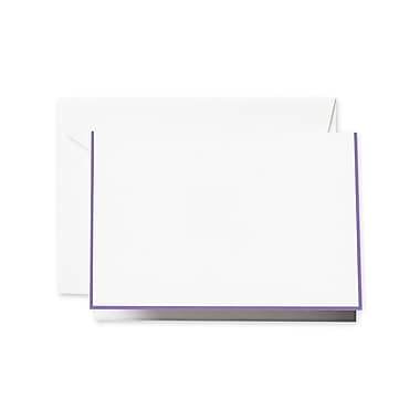 Crane & Co. Amethyst Bordered Notecards, Pearl White, 3.81 x 5.18 inch, 15/Box