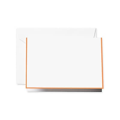 Crane & Co. Clementine Bordered Notecards, Pearl White, 3.81 x 5.18 inch, 15/Box