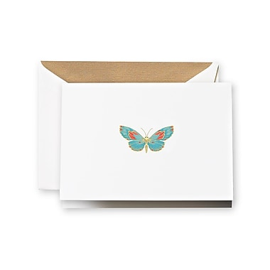 Crane & Co. Engraved Butterfly Notes, Pearl White, 3.81 x 5.18 inch, 10/Box