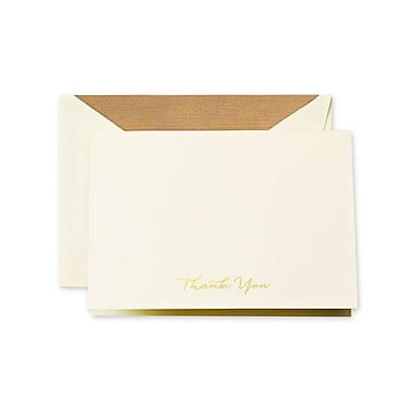 Crane & Co. Engraved Gold Script Thank You Notes, 3.81 x 5.18 inch, 10/Pack