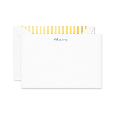 Crane & Co. Thank You Correspondence Cards, Regent Blue & Pearl White, 4.25 x 6.37 inch, 10/Box