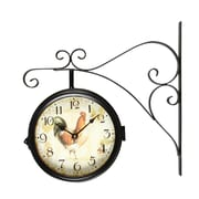AdecoTrading Vintage-Inspired Round Rooster Double-Sided Iron Wall Clock