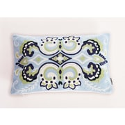 Calla Angel Embroidered Damask Lumbar Pillow; Blue