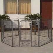 Iconic Pet Heavy Duty Metal Tube Exercise & Training Dog Pen; 40'' H x 85'' W x 85'' L