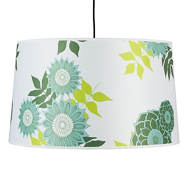Lights Up! Weegee 2-Light Drum Pendant; Cocoa Chintz