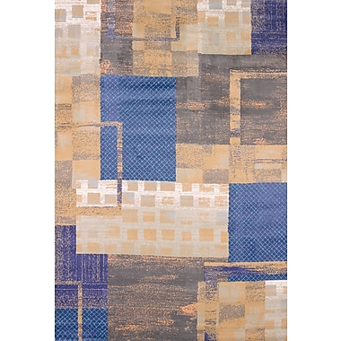 United Weavers of America Marquee Shades Machine Woven Polyester Brown/Blue Area Rug