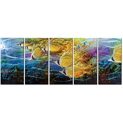 MetalArtscape Golden Jetstream 5 Piece Graphic Art Plaque Set