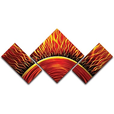 MetalArtscape Burning Sun 3 Piece Graphic Art Plaque Set