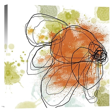 Global Gallery Orange Liquid Flower by Jan Weiss Painting Print on Wrapped Canvas