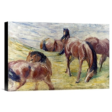 Global Gallery Horses Out To Pasture by Franz Marc Painting Print on Wrapped Canvas