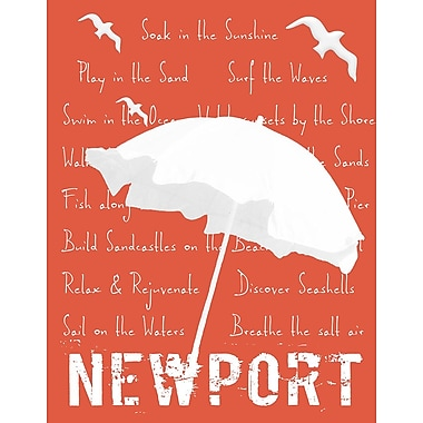Graffitee Studios Destination/Namedrop White Umbrella on Coral Newport Graphic Art on Wrapped Canvas