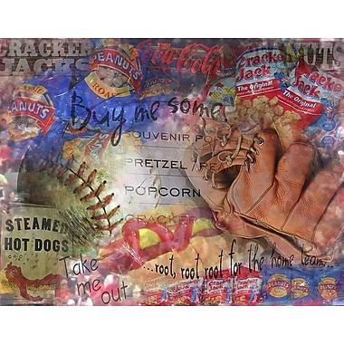Graffitee Studios Man Cave Peanuts and Crackerjack Baseball Vintage Graphic Art on Wrapped Canvas