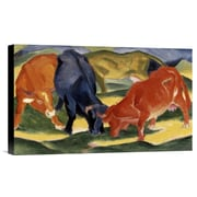 Global Gallery Fighting Cows by Franz Marc Painting Print on Wrapped Canvas