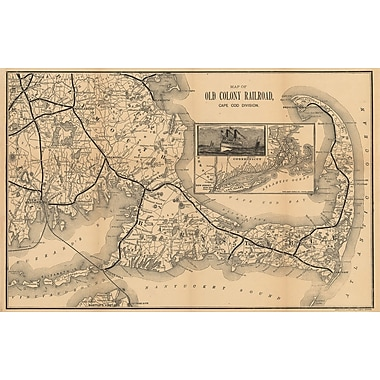 Penny Lane 1888 Old Colony Railroad Map Graphic Art on Wrapped Canvas