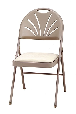 SuddenComfort High Back Plastic Folding Chair, Chicory Lace & Sand