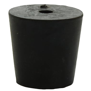 Midland Scientific Inc. Rubber Stopper with 1-hole, Size 4, Black, 30/lb
