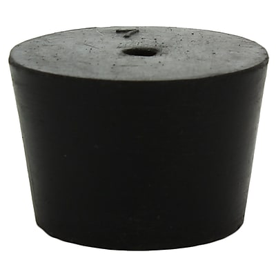 Midland Scientific Inc. Rubber Stopper with 1-hole, Black, Size 7, 14/lb