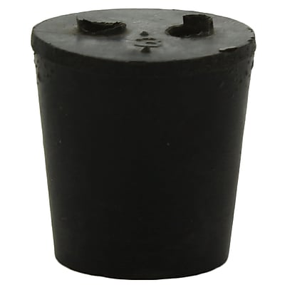 Midland Scientific Inc. Rubber Stopper with 2-hole, Size 3, Black, 35/lb
